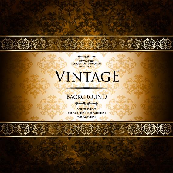 luxury golden vintage vector background set