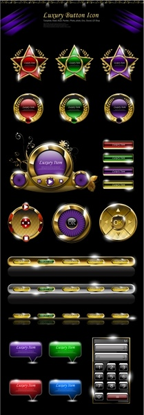buttons icons collection shiny luxury modern shapes