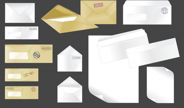 mailing envelope icons colored modern sketch