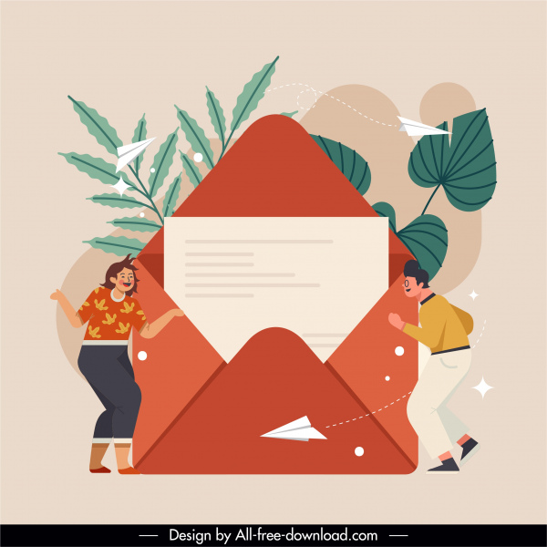 mailing correspondence background envelope human paper airplane sketch