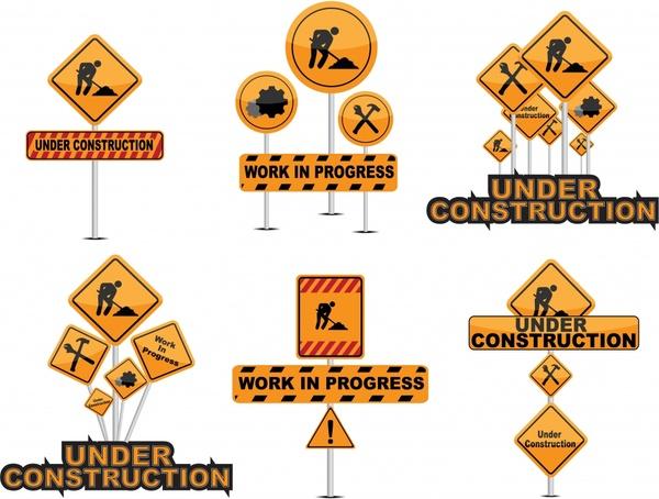 traffic construction signboard templates yellow black geometric design