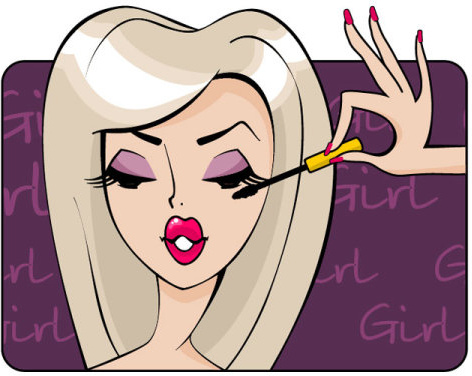 make up girl cartoon illustration free vector