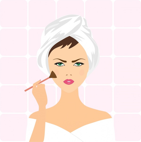 makeup woman realistic vector illustration