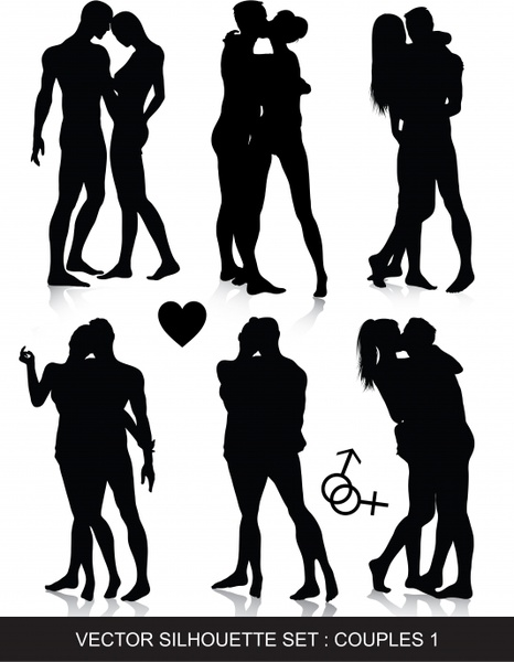 love couples icons romantic gestures black silhouettes design