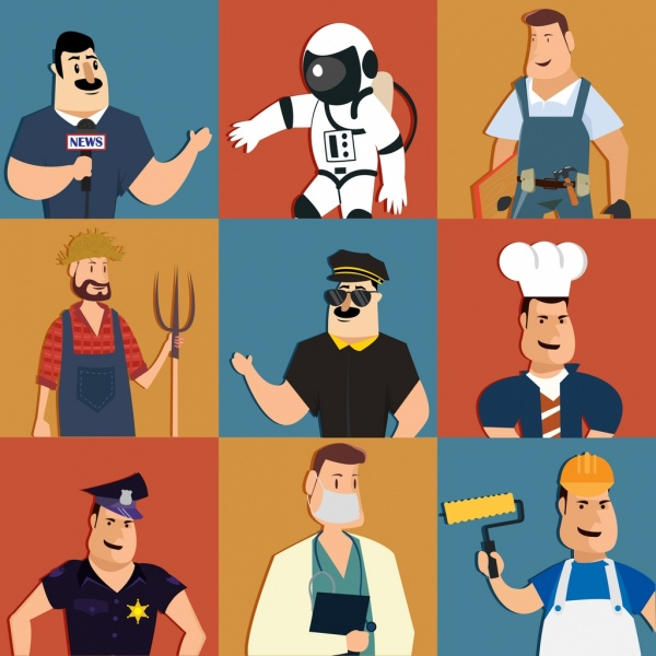 male profession icons collection colored cartoon characters