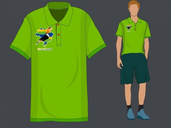 male tshirt template brazil symbols decor green design