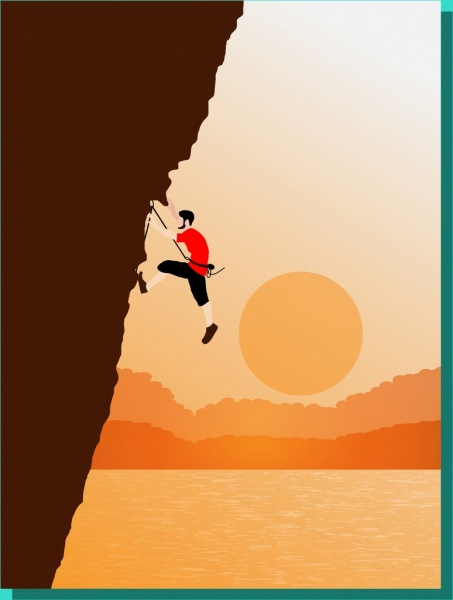 man climbing cliff theme colored cartoon style design