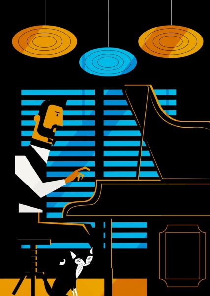 man playing piano drawing colored cartoon design