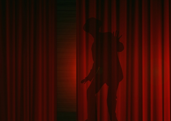 man silhouette curtain