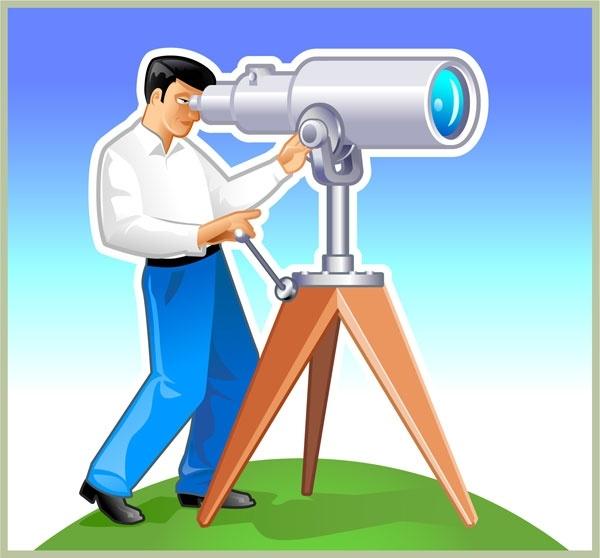 man with telescope vector