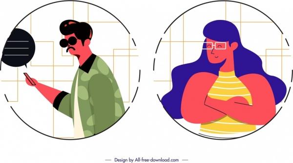 man woman avatar templates cartoon characters circles isolation free