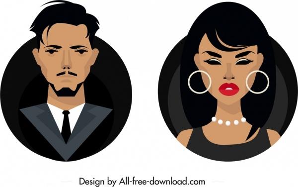 man woman avatar templates elegant costume design