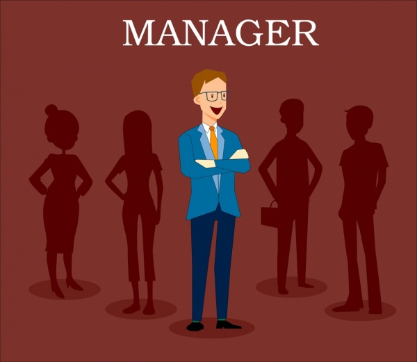 manager career background human icons silhouette cartoon design