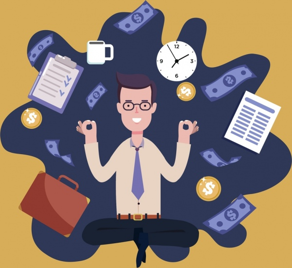 manager work background man business icons decor