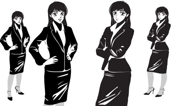 Manga noir female office free vector in encapsulated postscript