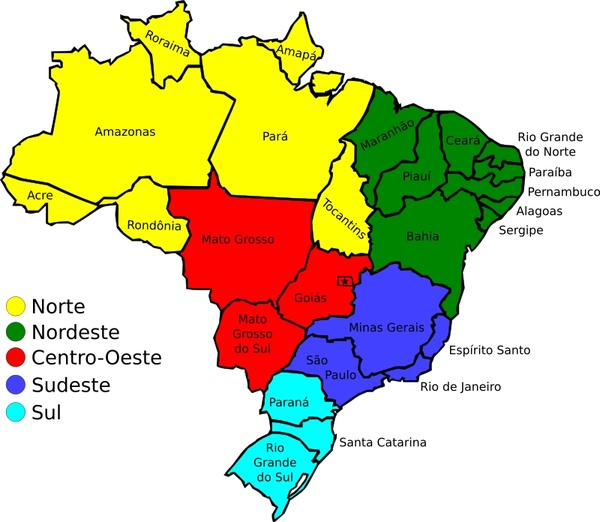 Map of Brazil, v3 Free vector in Open office drawing svg ( .svg ...