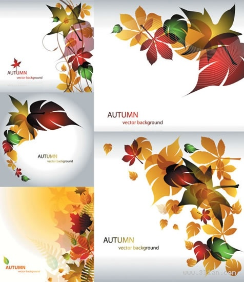 autumn background templates colorful dynamic leaf ornament