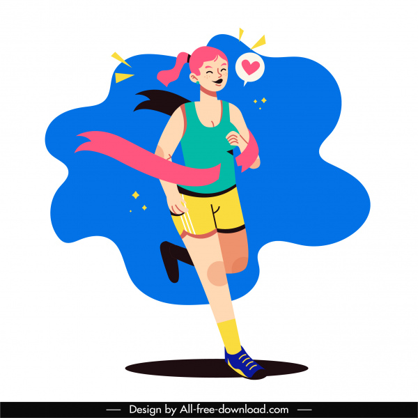 marathon athletic icon running girl sketch cartoon character