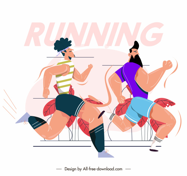 marathon competition background cartoon characters sketch