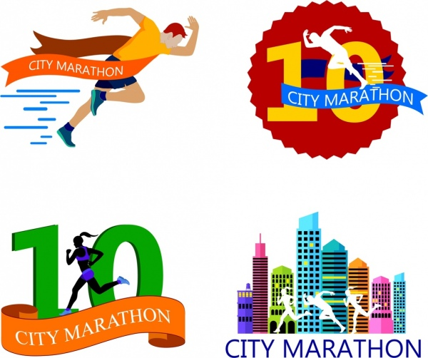 marathon racing logotypes running human icons colorful design
