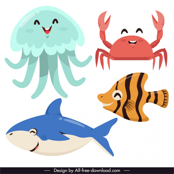 marine animals icons funny cartoon character sketch