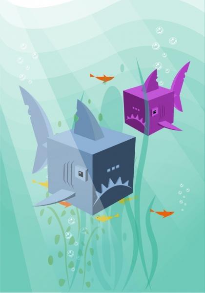 marine background fish icons decor cube heads style