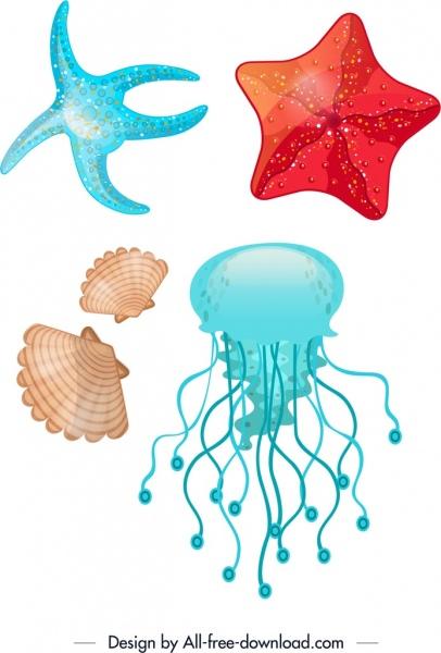 marine background starfish shell jellyfish icons colorful decor