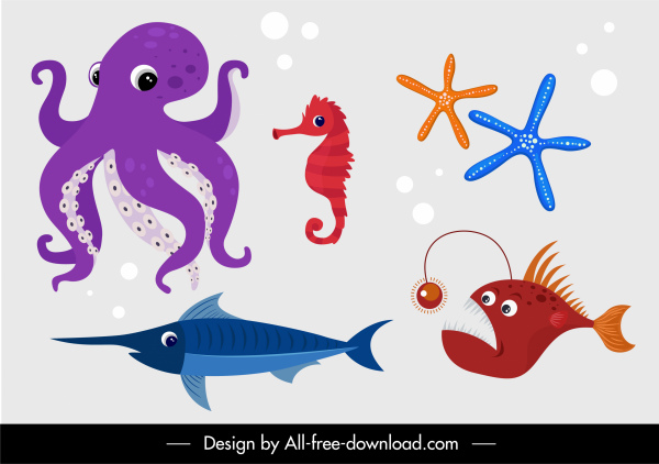 marine creatures icons fishes seahorse starfish octopus sketch