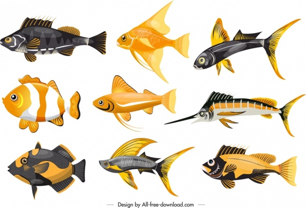 marine fishes icons colorful shapes sketch