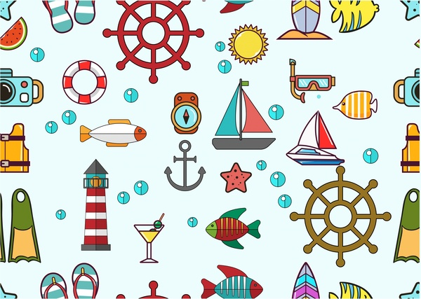 marine icons design with various shapes and colors free vector in