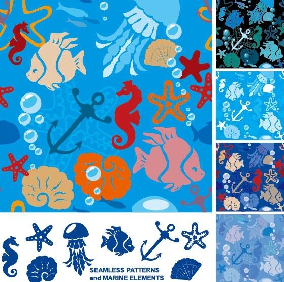 marine organisms silhouette 02 vector