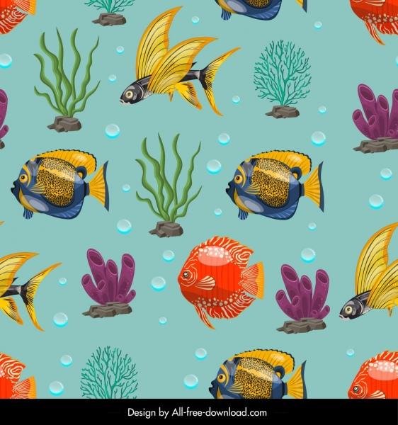 marine pattern colorful ornamental fishes corals decor