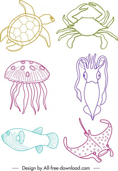 marine species icons colored handdrawn sketch