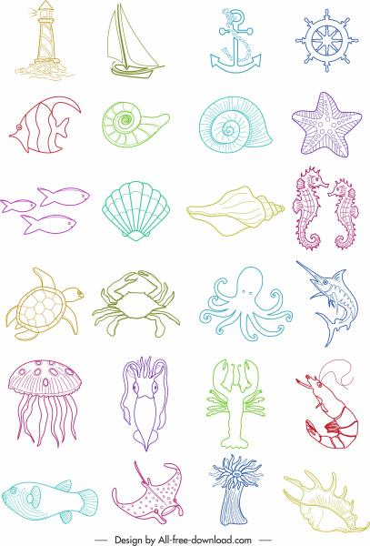 marine symbols icons species maritime elements handdrawn sketch
