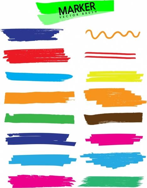marker paints backdrop colorful flat ornament