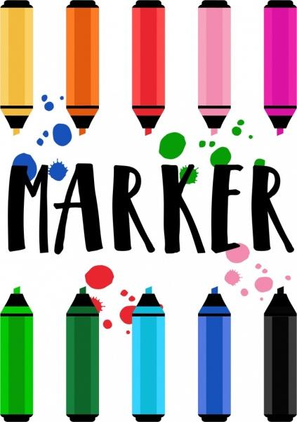 marker pens background colorful grunge decoration
