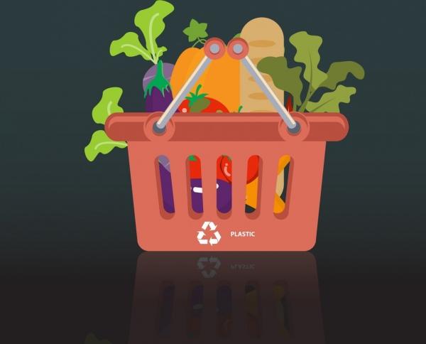 market shopping concept background plastic basket vegetable icons