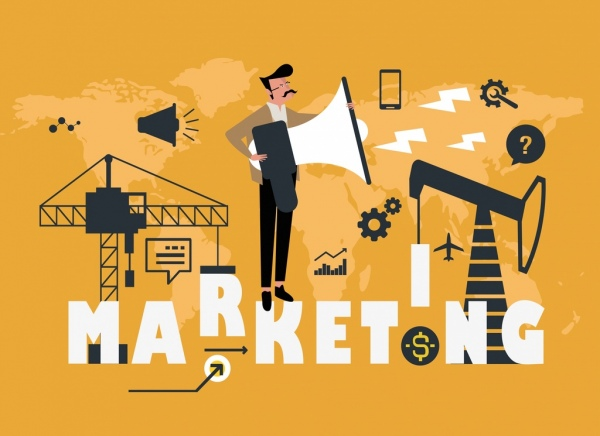 marketing background man megaphone industrial business elements icons