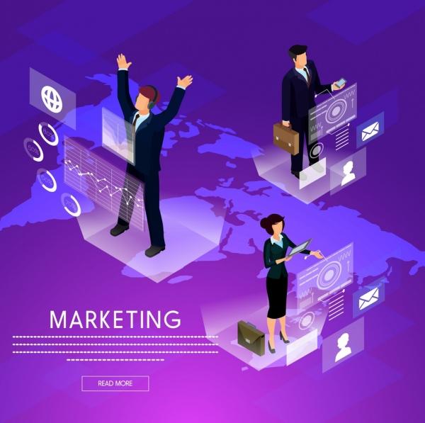 marketing banner modern 3d webpage design violet ornament
