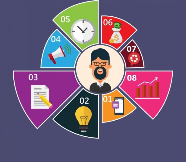 marketing concept infographic pie section chart ui decor