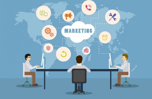 marketing concept infographic workplace decoration symbols connection