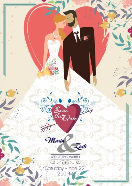 marriage banner colorful classical design bride groom icons