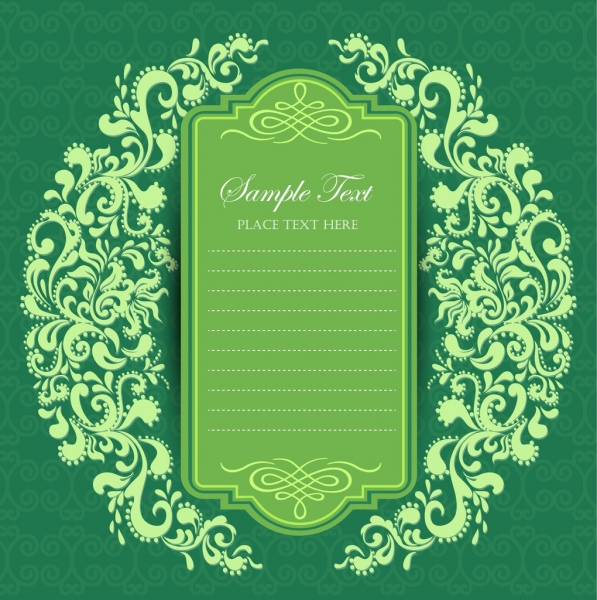 marriage decorative template green classical pattern