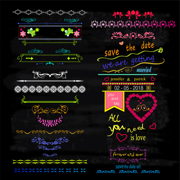 marriage patterns with classical style on dark background