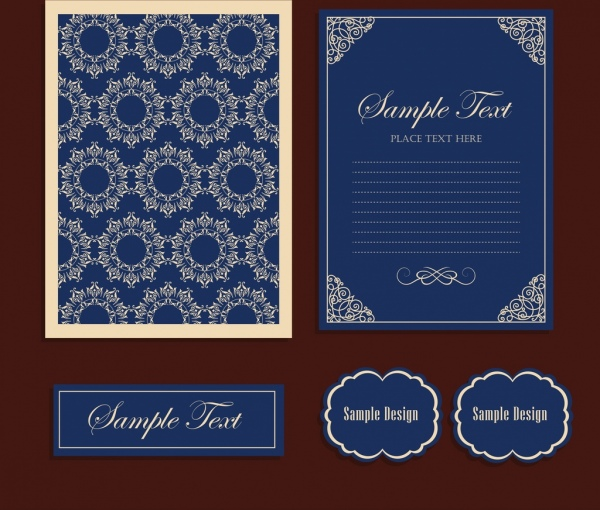 marriage template blue design classical flowers ornament