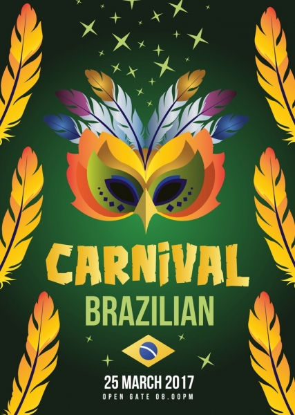 mask carnival poster yellow feathers decoration brazil flag