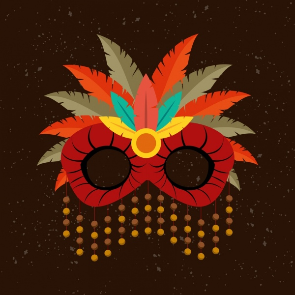 Masquerade Mask Icon Colorful Feathers Decoration Free Vector In Inspiration Decorate Masquerade Mask