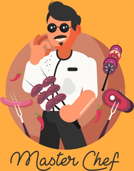 master chef banner male cook grilled food icons