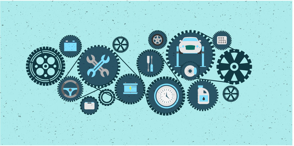 mechanism vector illustration with gears and mechanical icons design