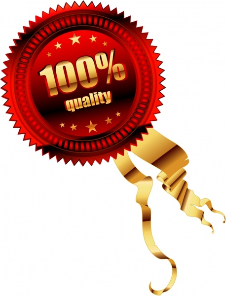 quality badge template modern shiny colored 3d design